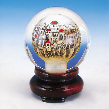 Picture of #163 Golden Jerusalem Crystal Paperweight