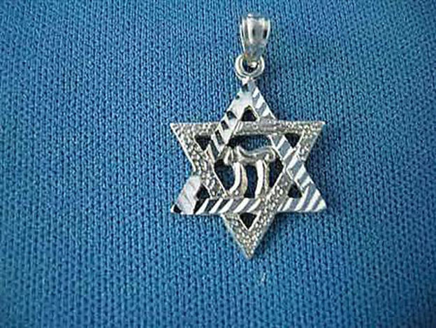 Picture of #G147-W White Gold Star of David with Chai