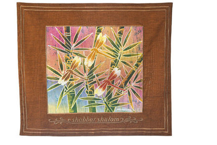 Picture of #602-R-H Challah Cover Dragonfly Rust Hebrew