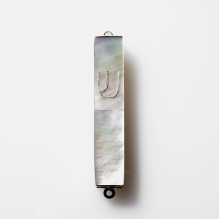 Picture of #HR-B041-M Mother of Pearl and Sterling Silver Mezuzah Case