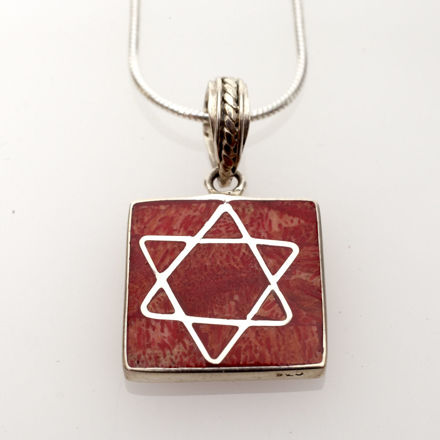 Picture of #B525-C Red Coral and Sterling Silver Star