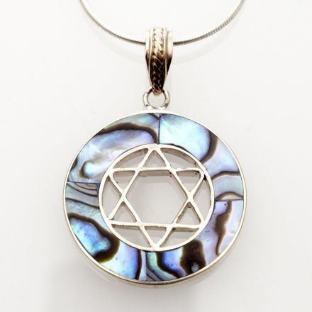 Picture of #B529-A Abalone Round Sterling Silver Star