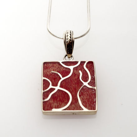 Picture of #B539-C Red Coral and Sterling Silver Tree of Life