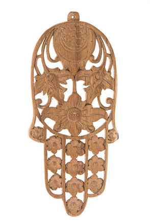 Picture of #079-T Wall Hamsa Hand Carved Teak