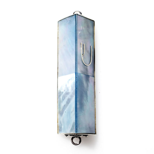Picture of #HR-B533-BLU Blue Pale Mother of Pearl Triangle Sterling Silver Mezuzah