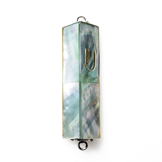 Picture of #HR-B533-G Green Mother of Pearl Rectangular Sterling Silver Mezuzah Case