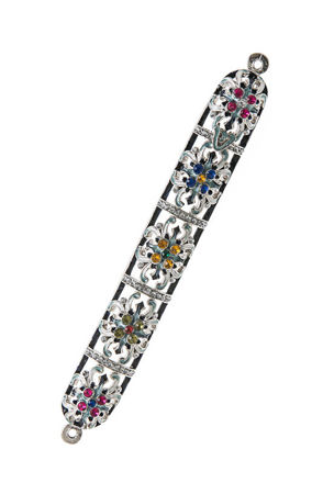 Picture of #4938 Jeweled Silver Flower Mezuzah case