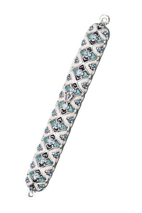Picture of #4940 Jeweled White/Blue Mezuzah case