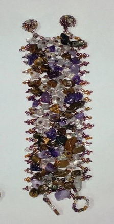 Picture of #B601-05 Gemstone and Glass Bead Bracelet