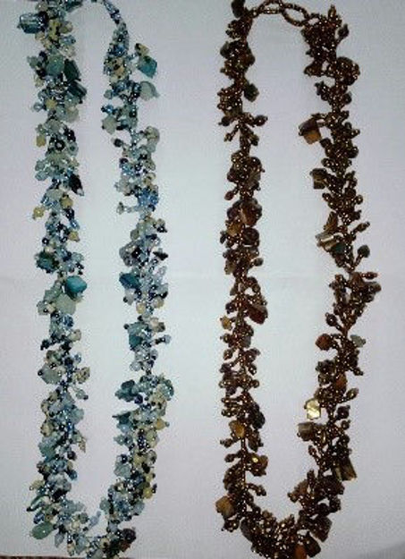 Picture of #B603-06 Gemstone Glass Bead Necklace