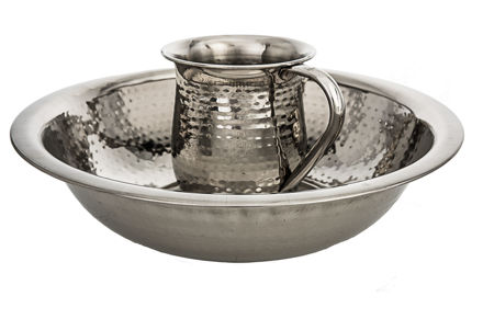 Picture of #5750-S Stainless steel Hammered wash cup and bowl