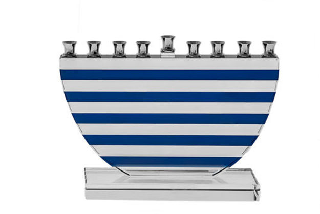 Picture of #167- Blue Stripes Crystal Menorah