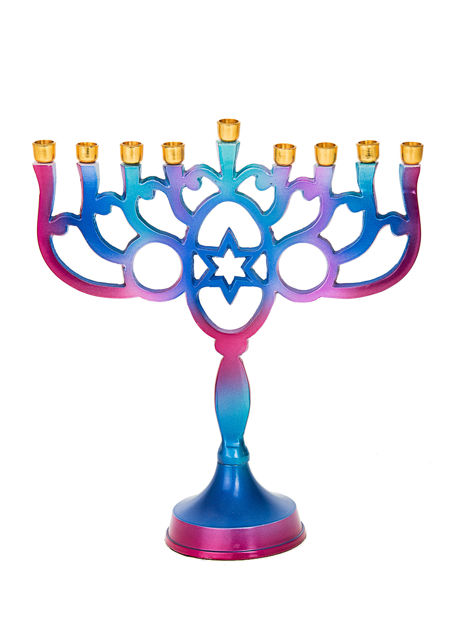 Picture of #252 Blue and Purple Metal Menorah