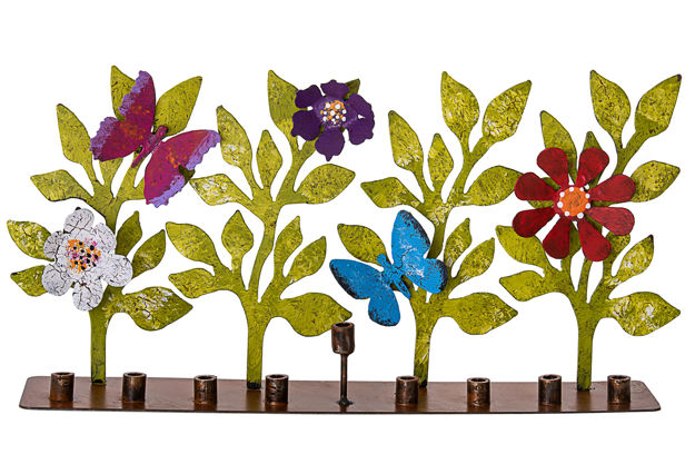 Picture of Metal Butterfly and Flower Menorah