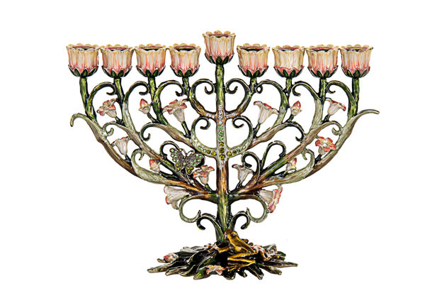Picture of #6083 Jeweled with butterfly and frog Menorah