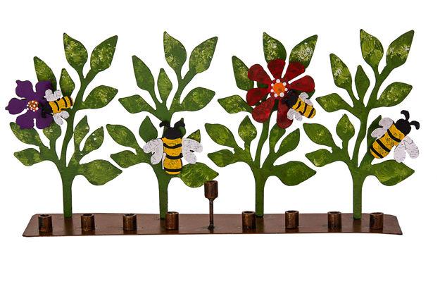 Picture of #257- Metal Bee and Flower Menorah