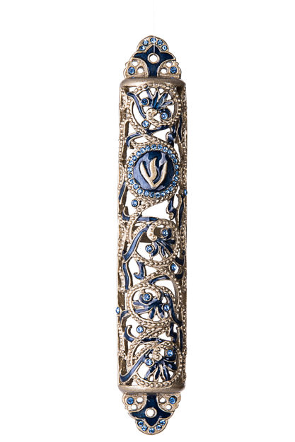 Picture of #131 Jeweled Royal Blue Mezuzah with stones