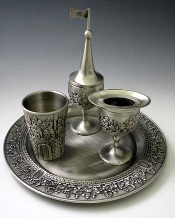 Picture of #4214-P Havdallah Set Pewter Jerusalem Design