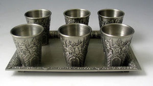Picture of #7601-SP Liquor Cups Set of 6 With Tray Silver Plated