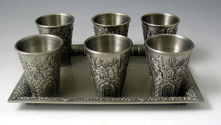 Picture of #7601-P Liquor Cups Set of 6 With Tray Pewter