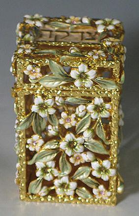 Picture of #6255 Tzedakah Box Jeweled White Flowers and stones
