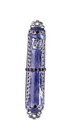 Picture of #150-PR Mezuzah Enamel Purple with stones