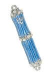 Picture of #127 Mezuzah Enamel light blue with stones