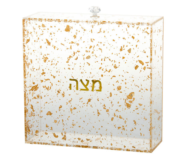 Picture of #1886-FG Matzah Holder Gold Flakes Lucite