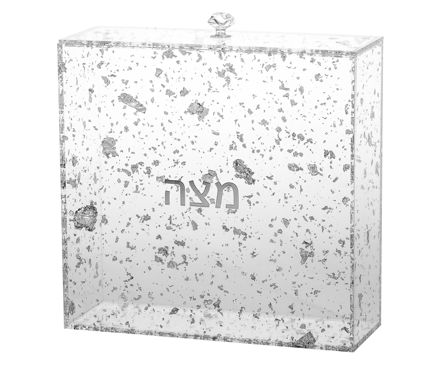 Picture of #1886-FS Matzah Holder Silver Flakes Lucite